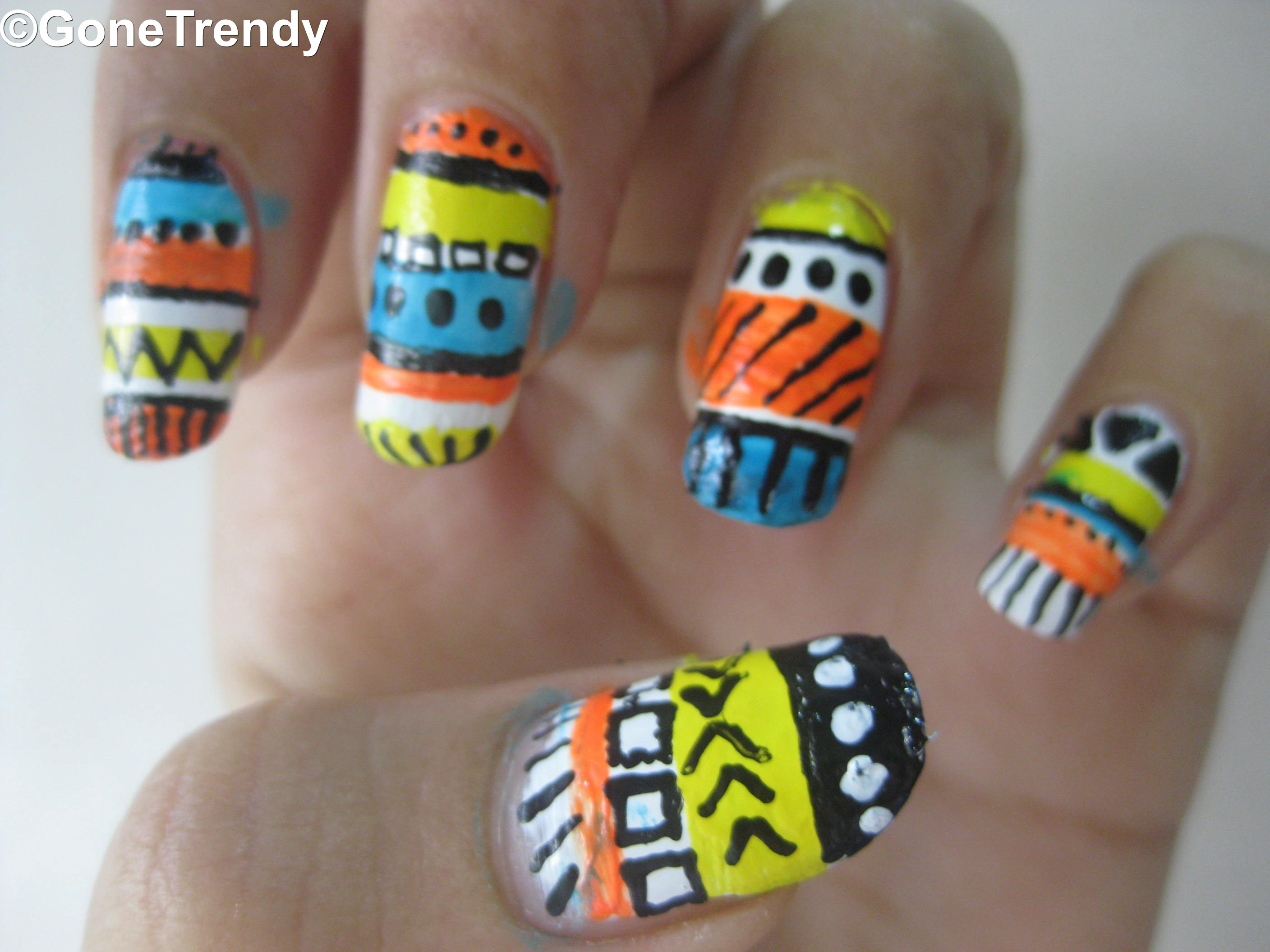 Tribal Print Nail Art.