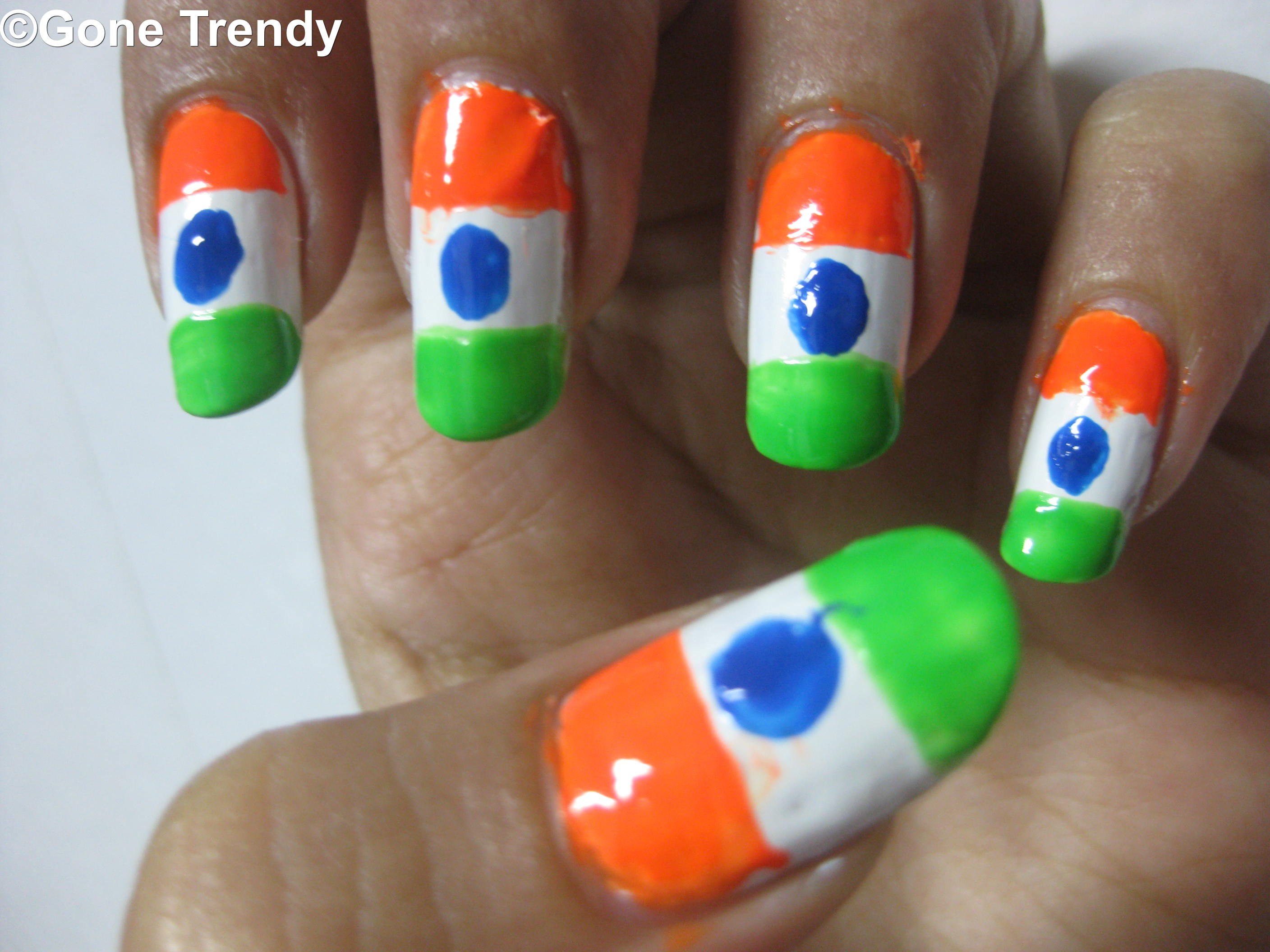 Indian Flag Nail Art! Independence Special! | Gone Trendy