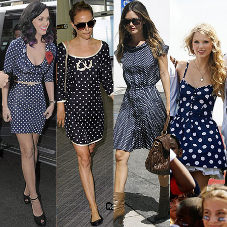 Celebrities-in-blue-polka-dot-dresses
